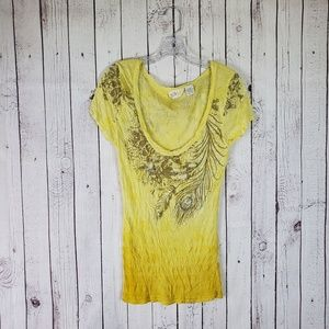 Miss Me Graphic Beaded Sequin Yellow Tshirt Large